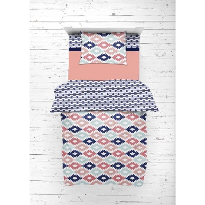 Bacati - Aztec Print Emma Coral Mint Navy 4 pc Toddler Bedding Set