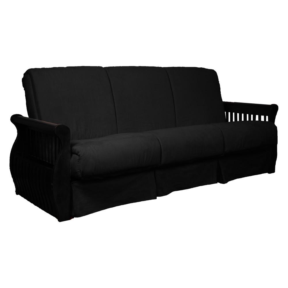 Storage Arm Perfect Futon Sofa Sleeper - Black Wood Finish - Epic Furnishings