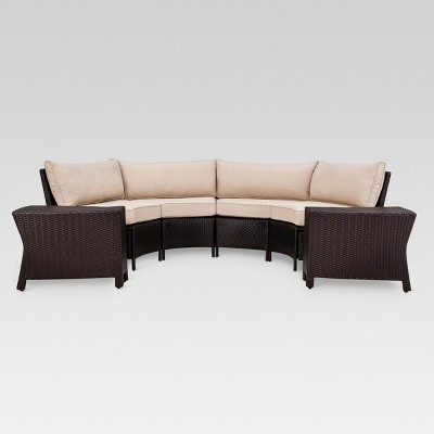 Harrison 6pc Wicker Patio Sectional Seating Set   Tan   Threshold™