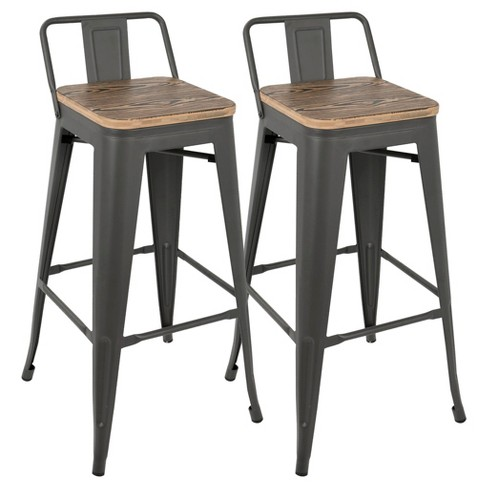 Oregon Industrial Low Back Bar Stool With Antique Frame Set Of 2 Espresso Wood Lumisource