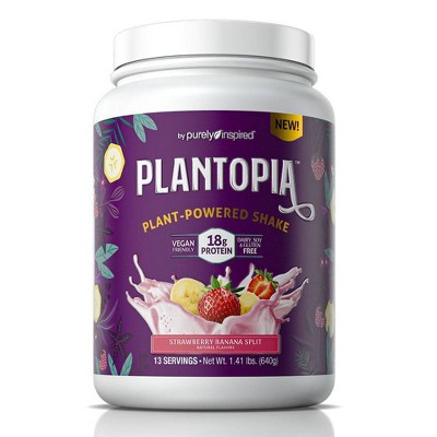 Purely Inspired Plantopia Plant-Powered Shake - Strawberry Banana Split - 1.41lbs