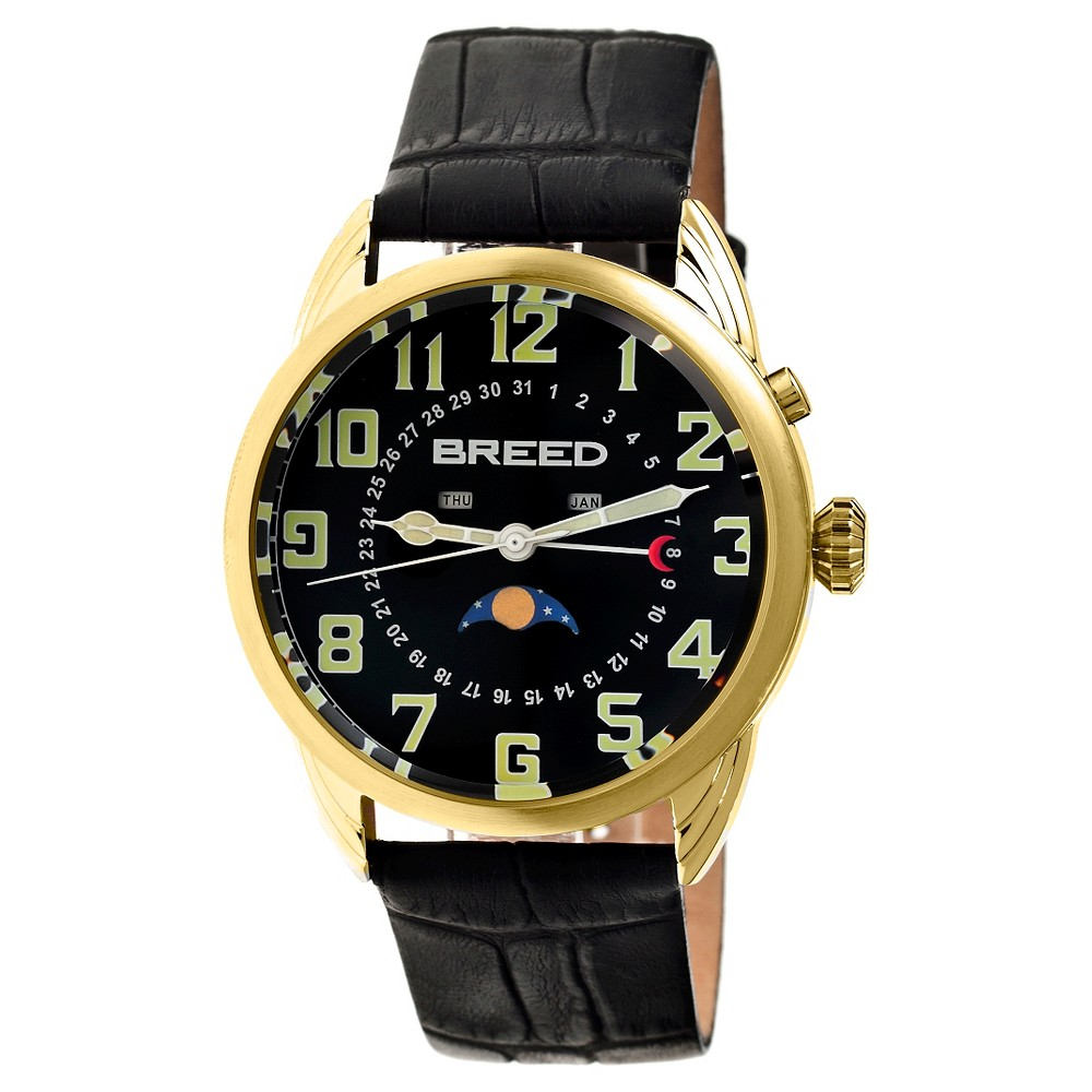 Men's Breed Alton Crocodile-Embossed Leather Strap Watch with Moon Phase-Gold/Black