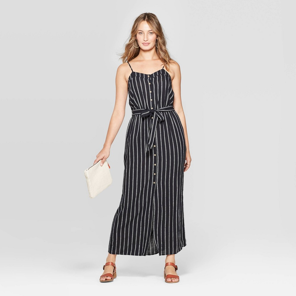 Women's Striped Sleeveless V-Neck Button Front Maxi Dress - Universal Thread Black Xxl