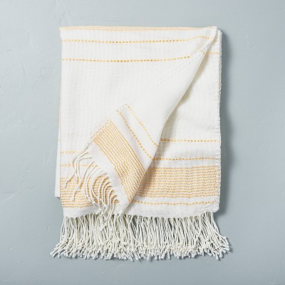 Multistripe Fringe Throw Blanket Yellow/Sour Cream - Hearth & Hand™ with Magnolia