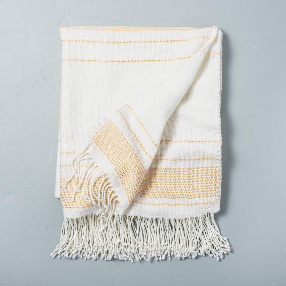 Multistripe Fringe Throw Blanket Yellow Sour Cream Hearth 38 Hand 8482 With Magnolia