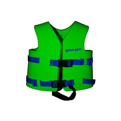 TRC Recreation 1021042 Super Soft Small United States Coast Guard Approved Child Vinyl Coated Foam Life Preserver Floatation Vest, Fierce Green