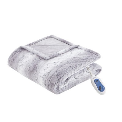 """50""""x70"""" Marselle Oversized Faux Fur Electric Throw Gray - Beautyrest"""