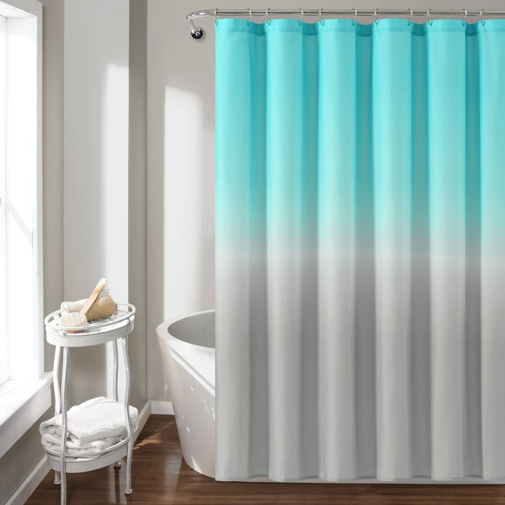 "Image of ""72""""X72"""" Umbre Fiesta Shower Curtain Aqua/Gray - Lush Decor, Blue"""