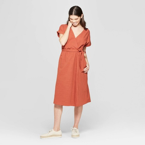 Women's Short Sleeve V-Neck Midi Dress - Universal Thread™ Orange XL - image 1 of 3
