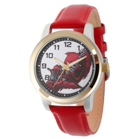 Men's Marvel's Deadpool Two Tone Alloy Watch - Red - image 1 of 2