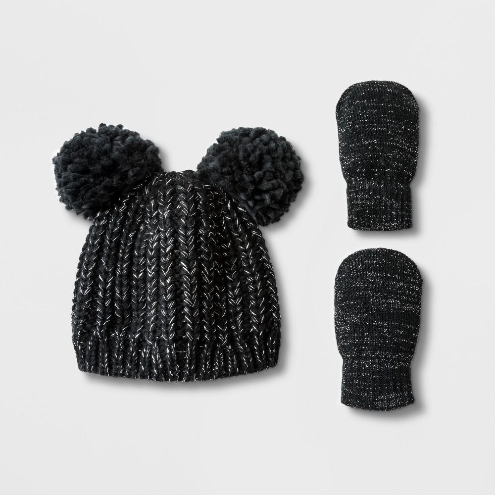 Toddler Girls' Lurex Pom Beanie Hat and Mitten Set - Cat & Jack Black 2T-5T