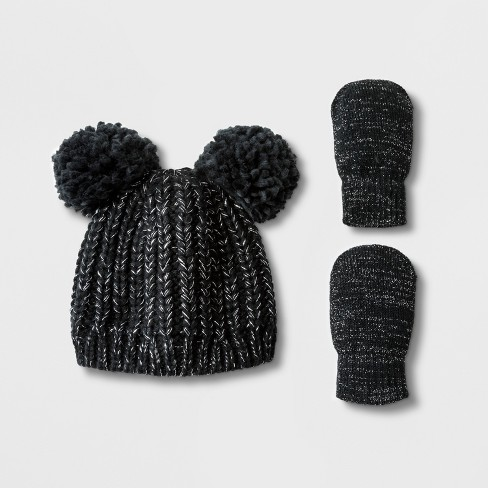 6de41471b Toddler Girls  Lurex Pom Beanie Hat and Mitten Set - Cat   Jack ...