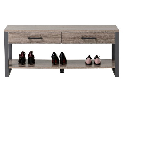 2 Drawer Entryway Bench With Shelf Reclaimed Wood Homestar