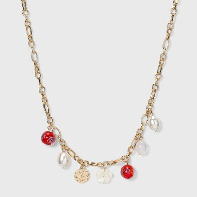 Simulated Pearl and Floral Charm Frontal Necklace - A New Day™
