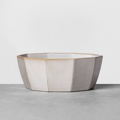 Stoneware Reactive Polygon Serve Bowl Gray - Hearth & Hand™ with Magnolia