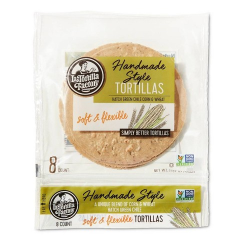 La Tortilla Factory Hand Made Style Green Chile Style Tortillas - 11.5oz/8ct - image 1 of 3