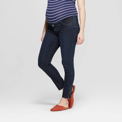 Maternity Side Panel Skinny Zipper Ankle Jeans - Isabel Maternity by Ingrid & Isabel™ Dark Wash