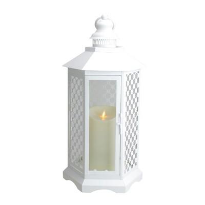 "Northlight 19"" White Floral Lattice Lantern with Luminara Flameless LED Lighted Candle"