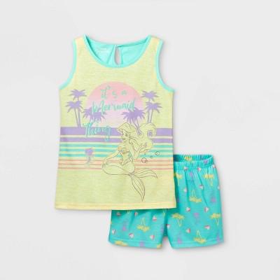 Girls' The Little Mermaid Ariel Mermaid Thing 2pc Pajama Set - Green