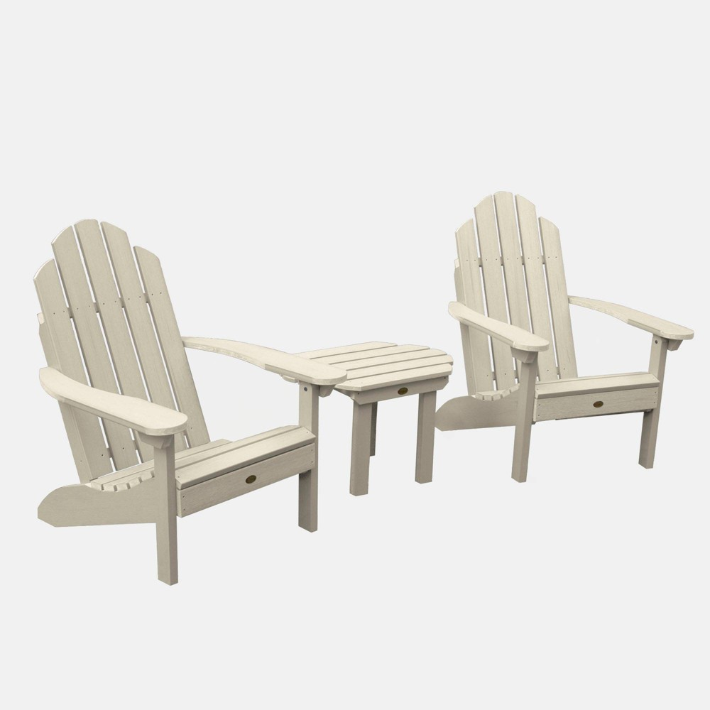 Image of 3pc Classic Westport Adirondack Chair Patio Set Whitewash - highwood