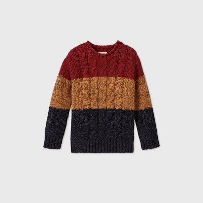 Toddler Boys' Cable Striped Pullover Sweater - Cat & Jack™ Gold 2T