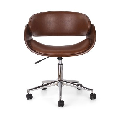 Brinson Mid-Century Modern Upholstered Swivel Office Chair - Christopher Knight Home