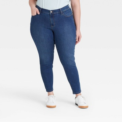 Women's Plus Size Vintage Skinny Jeans - Ava & Viv™ Medium Wash