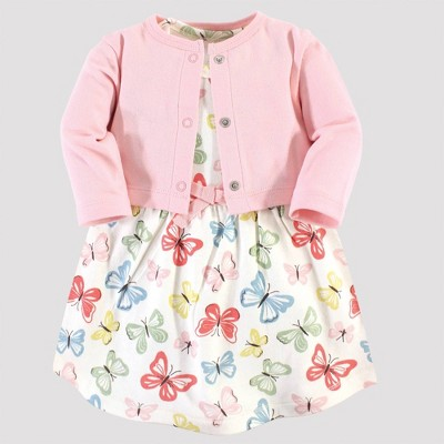 Touched by Nature Baby Girls' Butterflies Organic Cotton Dress & Cardigan - Pink/White 0-3M