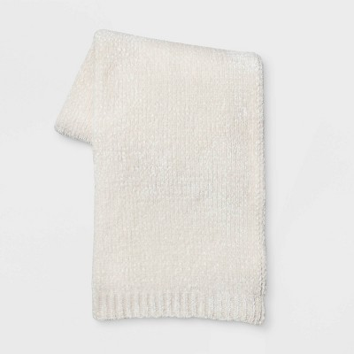 Shine Chenille Throw Blanket Cream - Project 62™