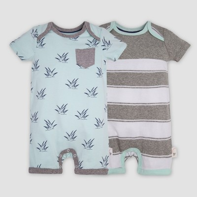 Burt's Bees Baby® Baby Boys' 2pk Organic Cotton Sprouts Rompers - Blue/Gray 0-3M