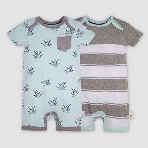 90c872b45 Burt s Bees Baby® Baby Boys  2pk Organic Cotton Sprouts Rompers   Target
