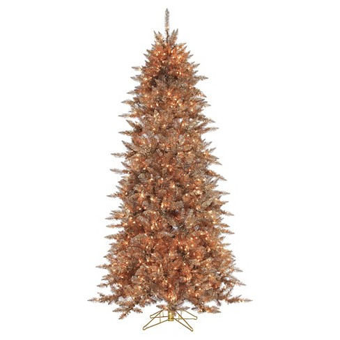 7.5ft Pre-Lit Artificial Christmas Tree Layered Copper Silver Frasier Fir - Clear Lights - image 1 of 1