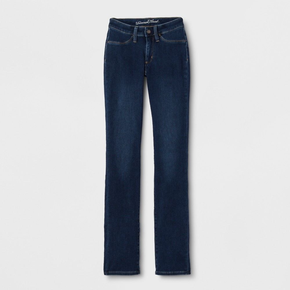 Women's Adaptive Straight Leg Jeans - Universal Thread Dark Wash 0 Short