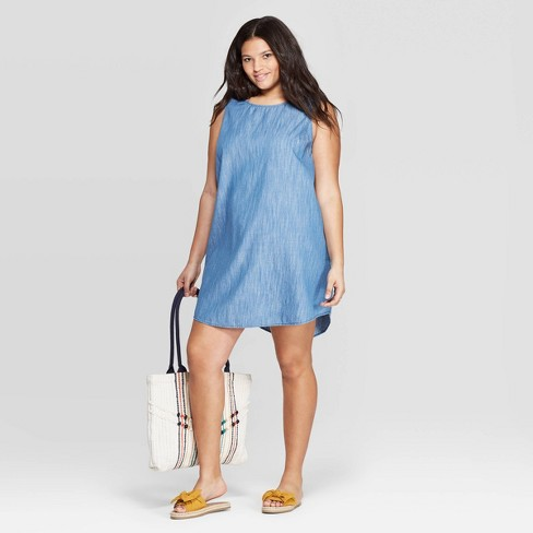 Women\'s Plus Size Sleeveless Scoop Neck Denim Dress - Universal Thread™  Medium Blue 3X