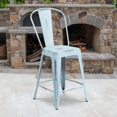 """Flash Furniture Commercial Grade 24"""" High Distressed Metal Indoor-Outdoor Counter Height Stool with Back"""