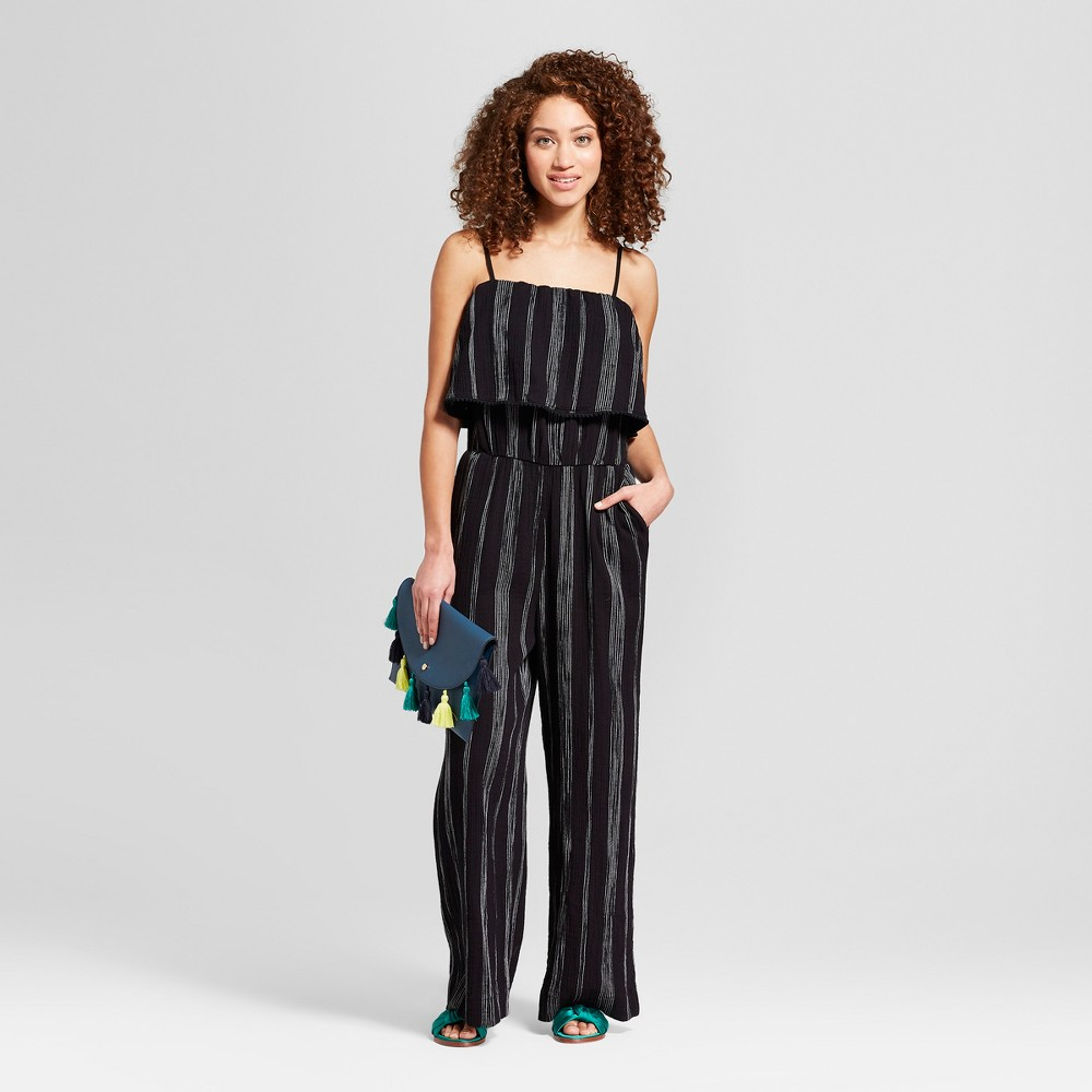 Women's Striped Jumpsuit - A New Day Black/White M