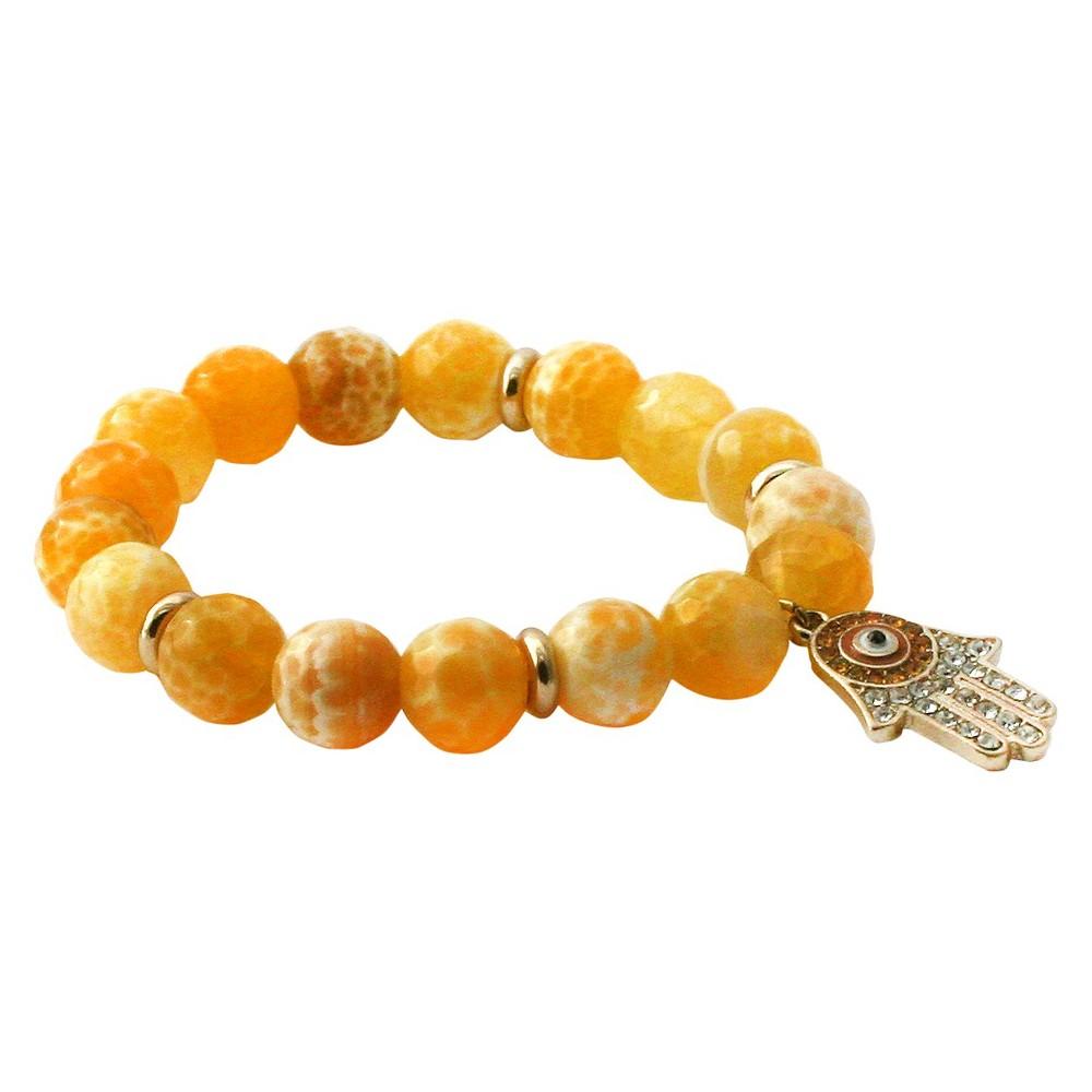 Women's Zirconite Eye Hamsa Charm Faceted Colored Stones Stretch Bracelet-Yellow, Yellow