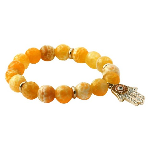 Women's Zirconite Eye Hamsa Charm Faceted Colored Stones Stretch Bracelet - image 1 of 1