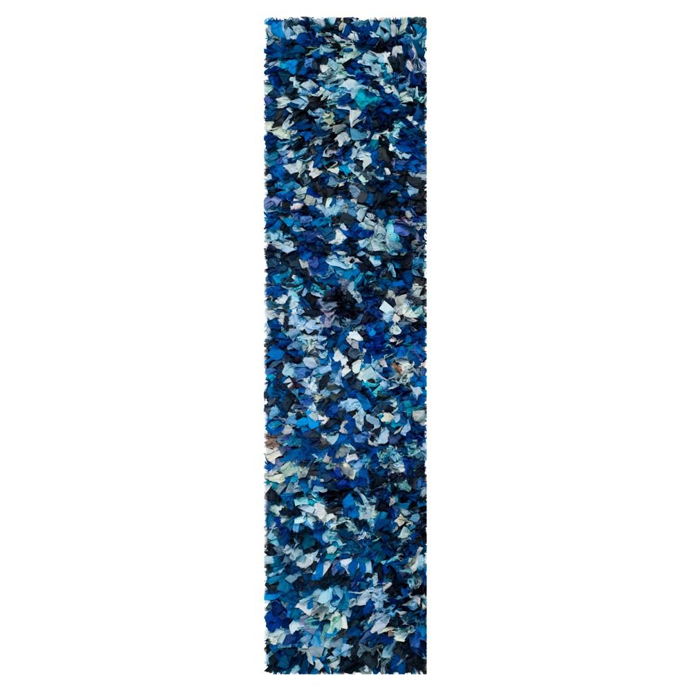 Blue/Multi Solid Loomed Runner - (2'3X11' Runner) - Safavieh