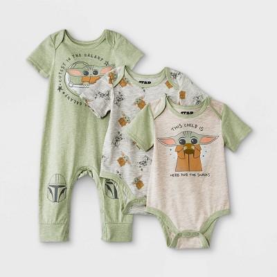 Baby Boys' 3pk Star Wars Baby Yoda Short Sleeve Romper and Bodysuit Set - Green 0-3M
