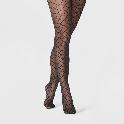 Women's Tile Pattern Tights - A New Day™ Black