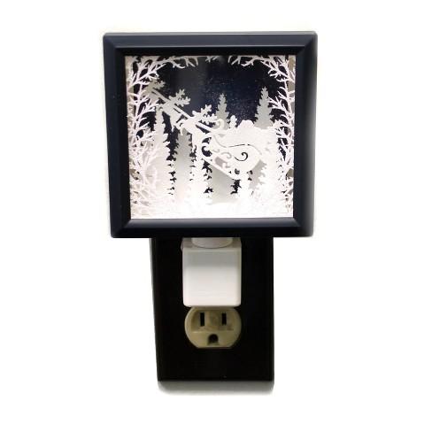 "Roman 6.0"" Santa Shadow Box Night-Light Sleigh Winter Christmas - image 1 of 2"