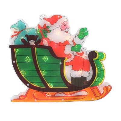 "Northlight 17"" Pre-Lit Green and Red Holographic Santa in Sleigh Christmas Window Silhouette Decoration"