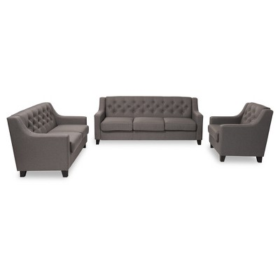 Arcadia Modern And Contemporary Fabric Upholstered Button   Tufted 3    Piece Living Room Sofa Set   Baxton Studio