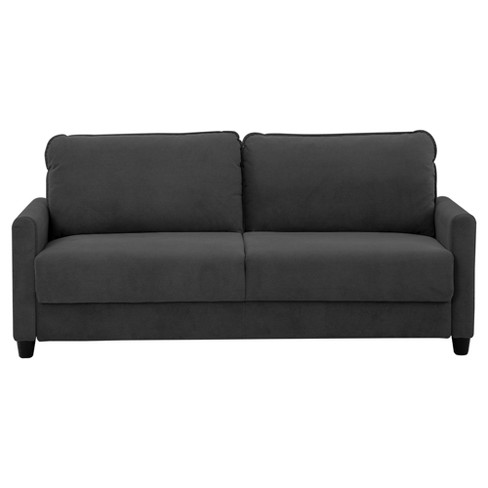 Sydney Microfiber Sofa with Storage and Wooden Legs Black - Lifestyle - image 1 of 2