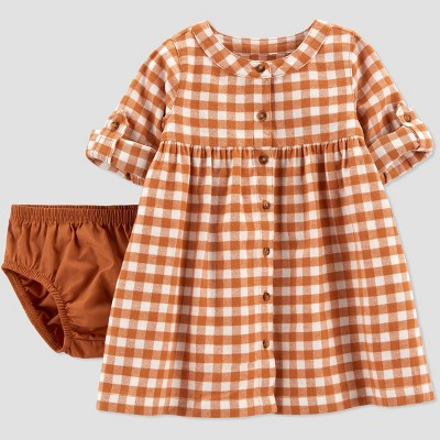 Baby Girls' Gingham Dress - Just One You® made by carter's Rust Red 6M