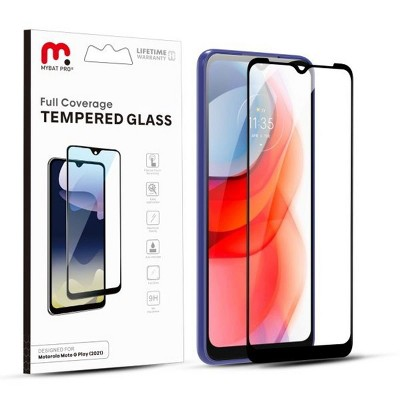 MyBat Pro Full Coverage Tempered Glass Screen Protector Compatible With Motorola Moto G Play (2021) - Black