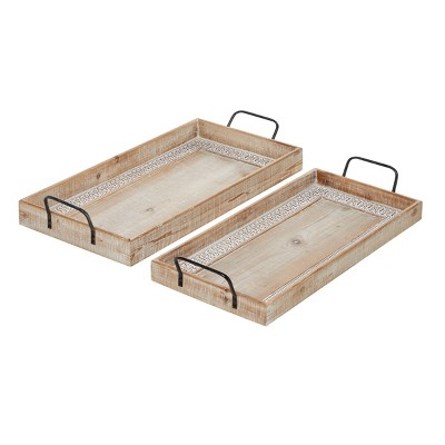 Set of 2 Rectangular Wood Tray with Inlay and Metal Handles Black - Olivia & May