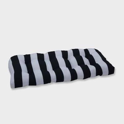 Cabana Stripe Wicker Outdoor Loveseat Cushion Black - Pillow Perfect
