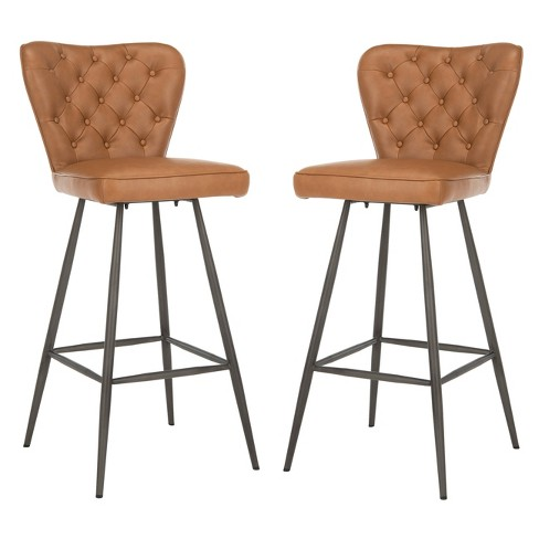 Groovy 30 Set Of 2 Aster Mid Century Modern Leather Tufted Bar Stool Camel Black Safavieh Squirreltailoven Fun Painted Chair Ideas Images Squirreltailovenorg